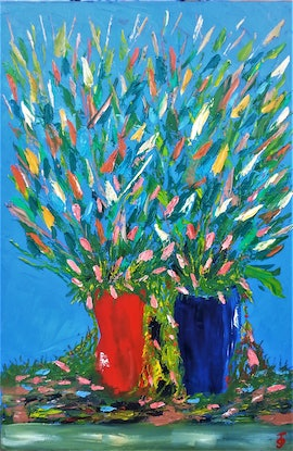 (CreativeWork) RED AND BLUE VASES. OIL PAINTING. by owen jones. Oil Paint. Shop online at Bluethumb.