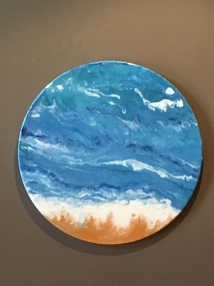 (CreativeWork) Calm Current 50cm Round  by Di Parsons. Resin. Shop online at Bluethumb.