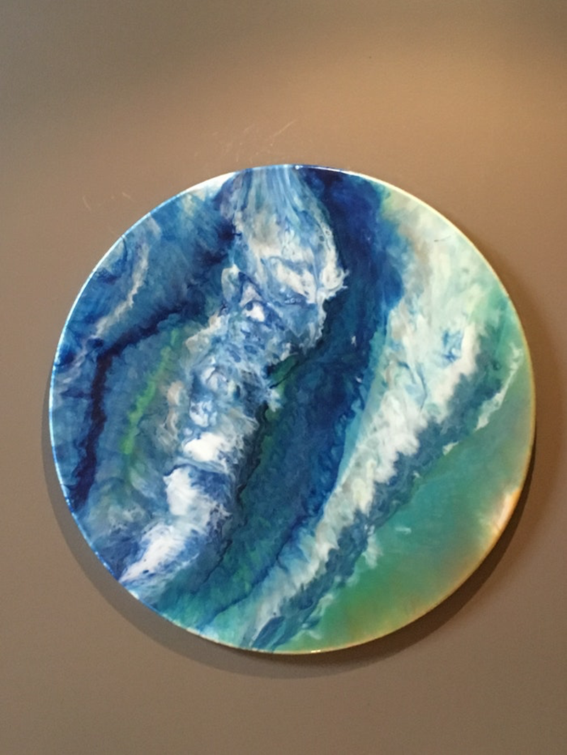 (CreativeWork) Tidal Waves 60cm Round  by Di Parsons. resin. Shop online at Bluethumb.