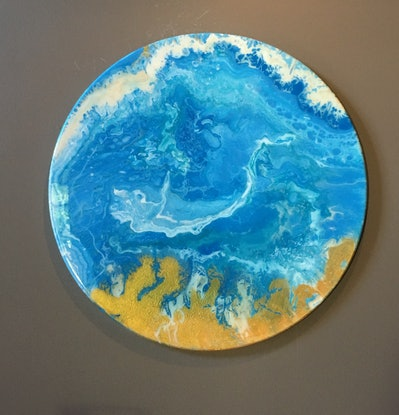 (CreativeWork) Undercurrent 60cm Round by Di Parsons. Resin. Shop online at Bluethumb.