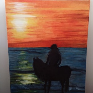 (CreativeWork) Sunset The horse with a girl.  by Ayomi Melanie. oil-painting. Shop online at Bluethumb.