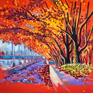 (CreativeWork) A walk under the Ornamental Pear Trees on the South side of Lake Burley Griffin near the National Library... by Valentyna Crane. arcylic-painting. Shop online at Bluethumb.