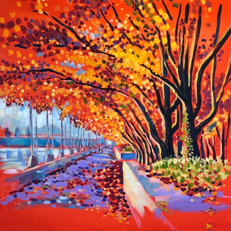 (CreativeWork) A walk under the Ornamental Pear Trees on the South side of Lake Burley Griffin near the National Library... by Valentyna Crane. Acrylic Paint. Shop online at Bluethumb.