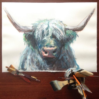 (CreativeWork) Marley (Highland Cow) by Rebecca Hill. Acrylic Paint. Shop online at Bluethumb.