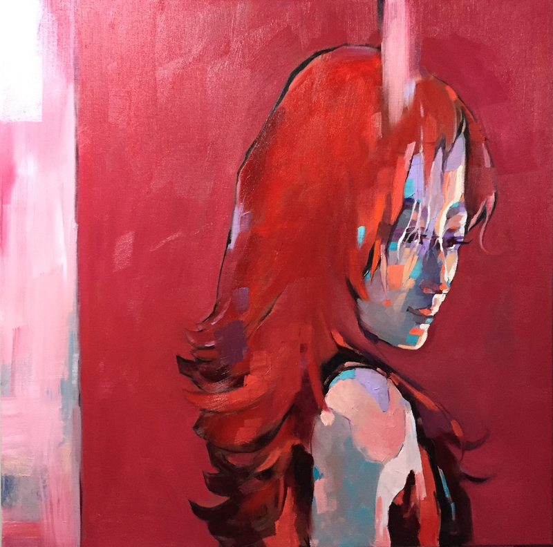 (CreativeWork) Red Amour by LI ZHOU. oil-painting. Shop online at Bluethumb.
