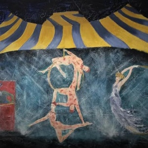 (CreativeWork) Circus 2 by Jennifer Price. oil-painting. Shop online at Bluethumb.