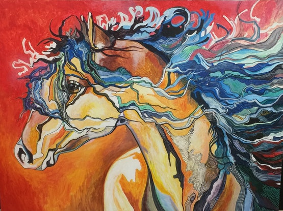 (CreativeWork) native american indian war horse by Christopher O'Hare. Acrylic Paint. Shop online at Bluethumb.