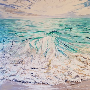 (CreativeWork) Autumn Sea by Michael Miller. arcylic-painting. Shop online at Bluethumb.
