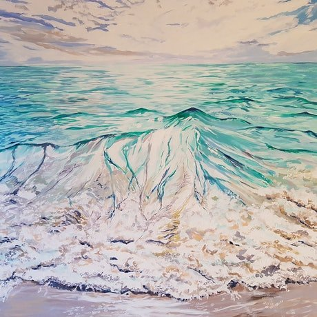 (CreativeWork) Autumn Sea by Michael Miller. Acrylic Paint. Shop online at Bluethumb.