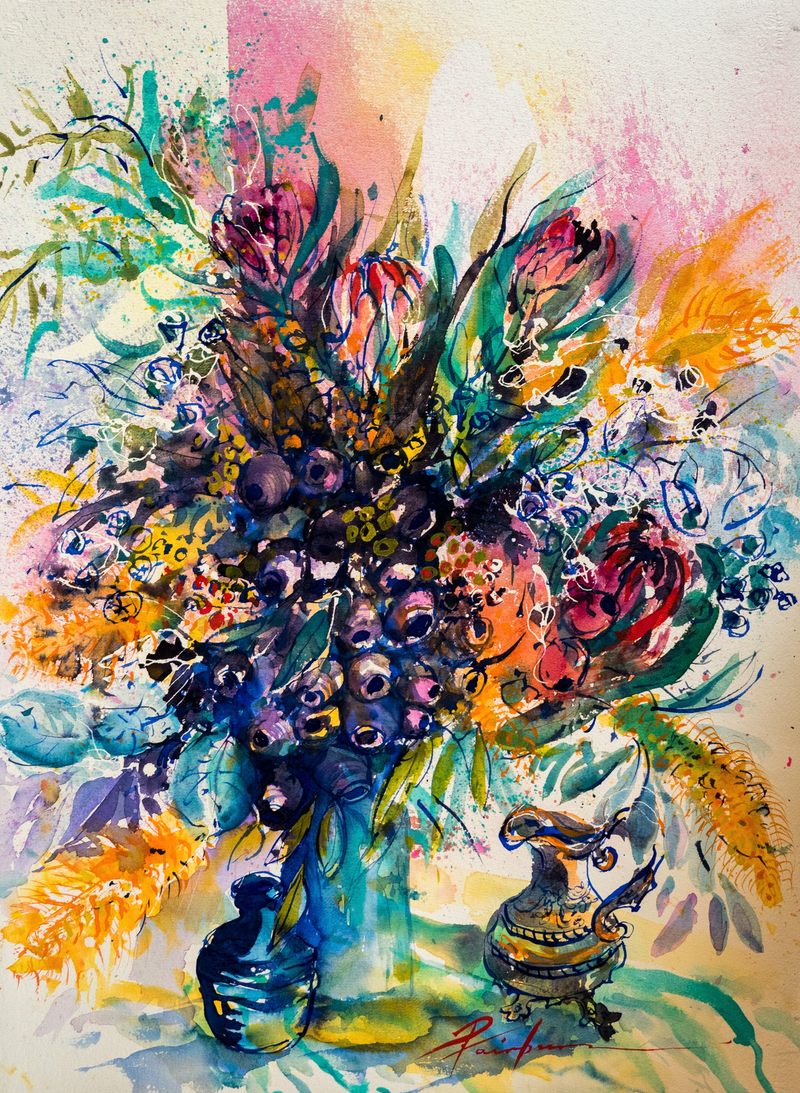 (CreativeWork) Wild Flowers and Gumnuts by Pamela Fairburn. watercolour. Shop online at Bluethumb.
