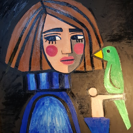 Girl with blue sweater and green bird