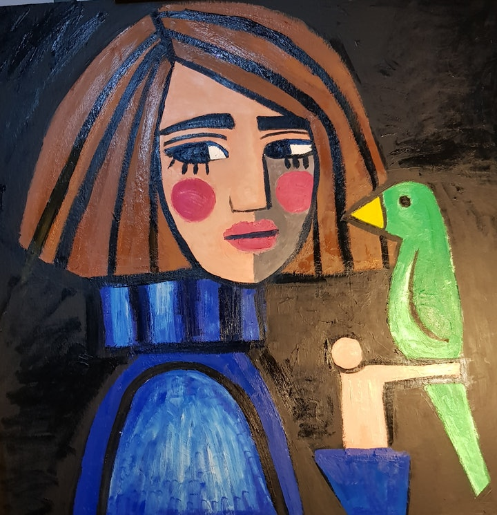 (CreativeWork) Girl with blue sweater and green bird by jane ruggiero. oil-painting. Shop online at Bluethumb.