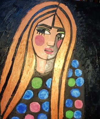 (CreativeWork) Girl with dots by jane ruggiero. Oil Paint. Shop online at Bluethumb.