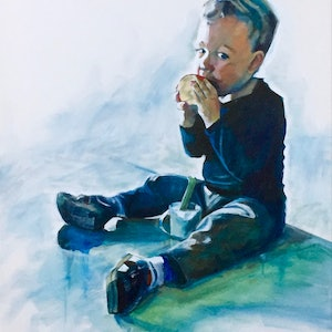 (CreativeWork) Boy with Apple by Ross Morgan. acrylic-painting. Shop online at Bluethumb.