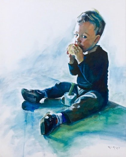 (CreativeWork) Boy with Apple by Ross Morgan. arcylic-painting. Shop online at Bluethumb.