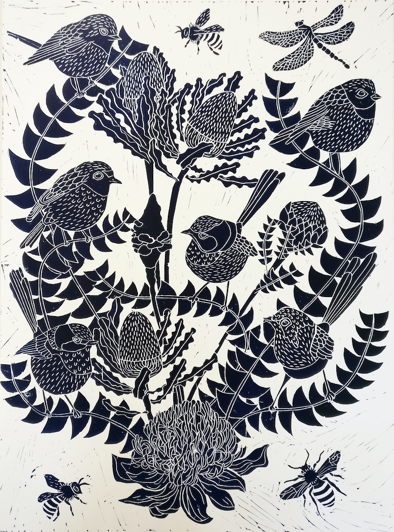 (CreativeWork) Fairy Wren and Banksia Lino print Ed. 21 of 100 by Marinka Parnham. print. Shop online at Bluethumb.