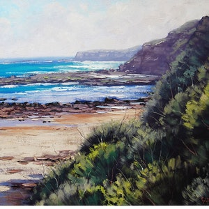 (CreativeWork) Norah Head  nsw  by Graham Gercken. oil-painting. Shop online at Bluethumb.