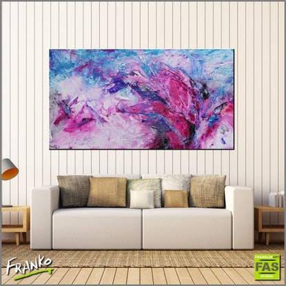 (CreativeWork) Magenta Rush 190cm x 100cm Pink Blue huge Texture Abstract fluid gems by _Franko _. Acrylic Paint. Shop online at Bluethumb.