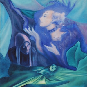 "(CreativeWork) ""Three Sisters"" - Original dark - romantic, surreal oil painting by Bonny Hut. oil-painting. Shop online at Bluethumb."