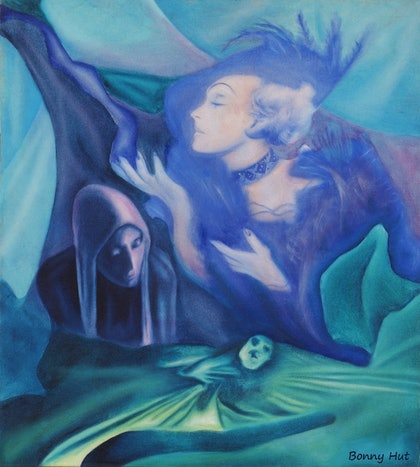 """Three Sisters"" - Original dark - romantic, surreal oil painting"