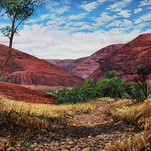 (CreativeWork) VALLEY OF THE WINDS-KATA TJUTA by Margaret HADFIELD. oil-painting. Shop online at Bluethumb.