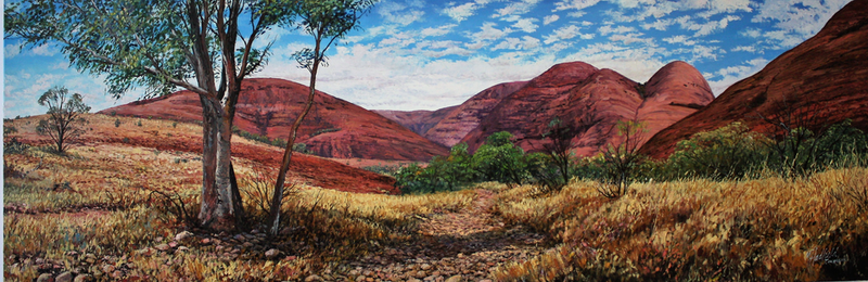 (CreativeWork) VALLEY OF THE WINDS-KATA TJUTA by Margaret HADFIELD. Oil Paint. Shop online at Bluethumb.