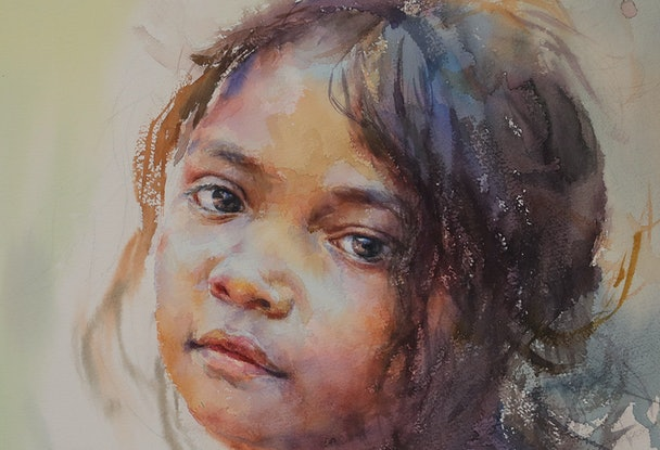 (CreativeWork) Innocent Little One by Richard(Tiejun) Chao. Watercolour Paint. Shop online at Bluethumb.