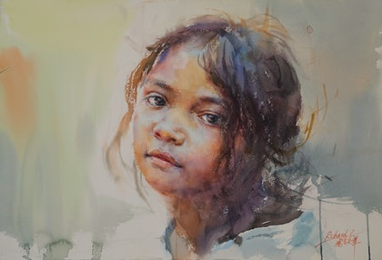 (CreativeWork) Innocent Little One by Richard(Tiejun) Chao. watercolour. Shop online at Bluethumb.