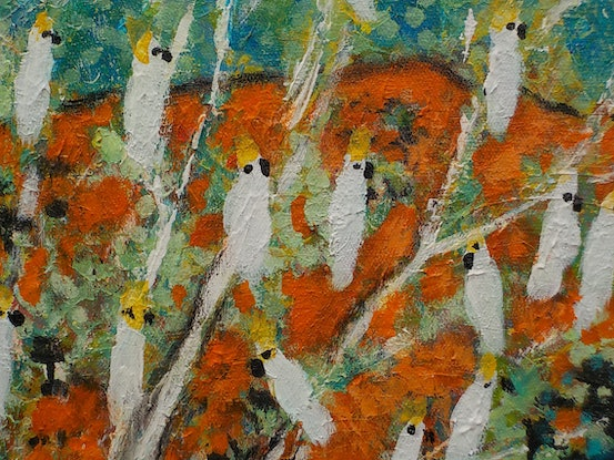 """(CreativeWork) """" Outback  Australia with  Birds and  Animals"""" by Catherine Walker. Acrylic Paint. Shop online at Bluethumb."""