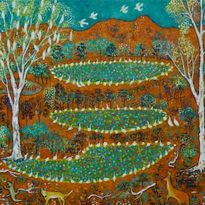 """(CreativeWork) """" Outback  Australia with  Birds and  Animals"""" by Catherine Walker. acrylic-painting. Shop online at Bluethumb."""