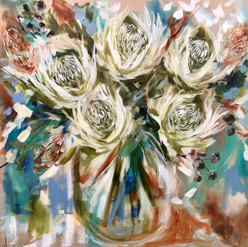 (CreativeWork) Winter white Waratah  by Amanda Brooks. arcylic-painting. Shop online at Bluethumb.