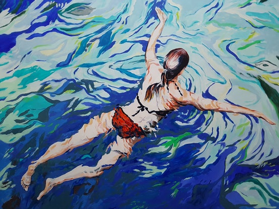 (CreativeWork) The Swimmer by Michael Miller. Acrylic Paint. Shop online at Bluethumb.