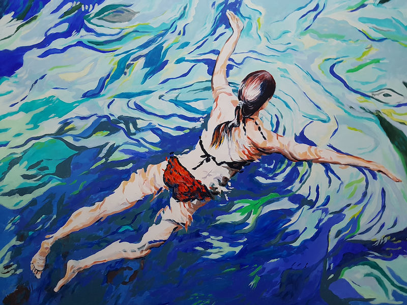 (CreativeWork) The Swimmer by Michael Miller. arcylic-painting. Shop online at Bluethumb.