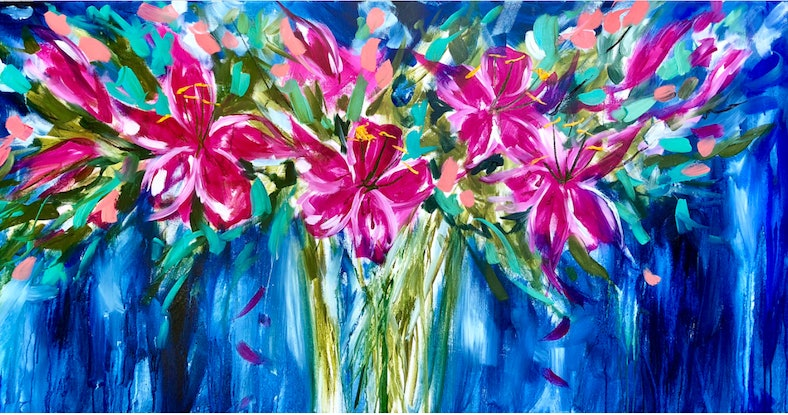(CreativeWork) Midnight lily  by Amanda Brooks. Acrylic Paint. Shop online at Bluethumb.