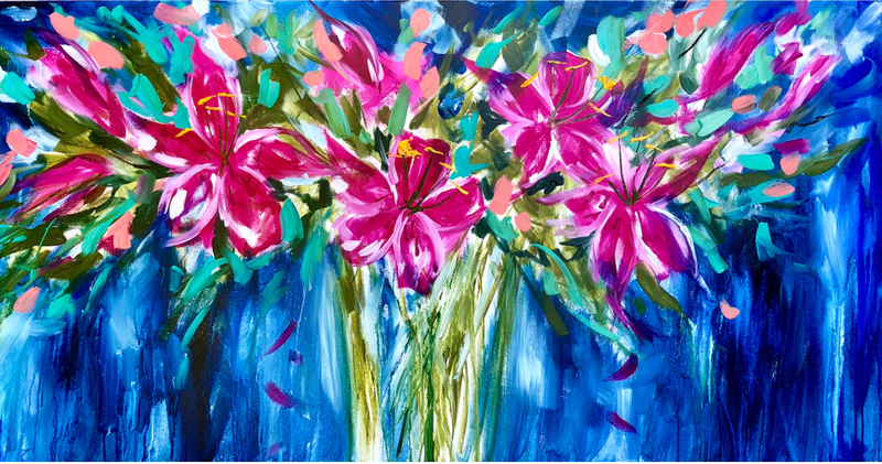 (CreativeWork) Midnight lily  by Amanda Brooks. arcylic-painting. Shop online at Bluethumb.