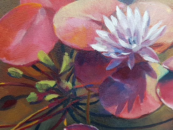 (CreativeWork) Water lilies by Eugene Rubuls. Oil Paint. Shop online at Bluethumb.