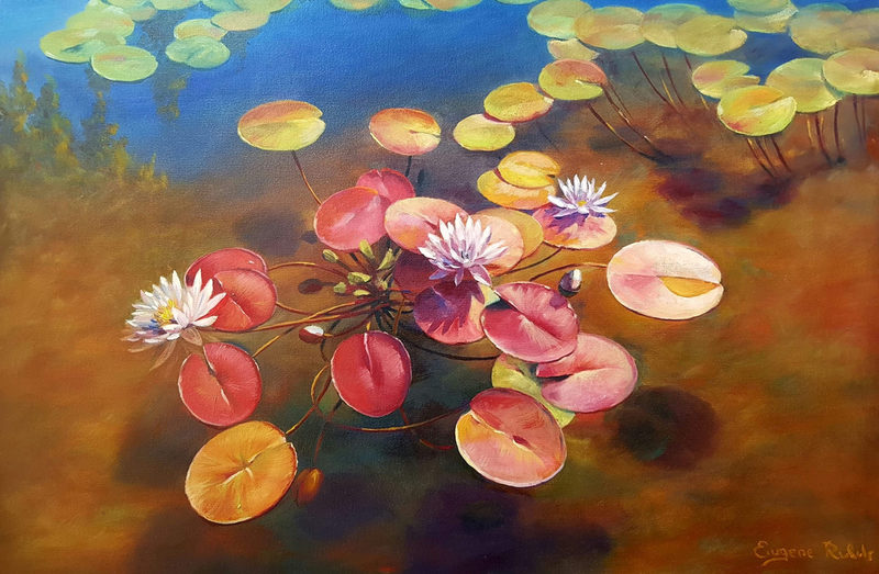 (CreativeWork) Water lilies by Eugene Rubuls. oil-painting. Shop online at Bluethumb.