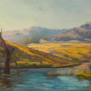 (CreativeWork) Lake St Claire Hunter Valley NSW - Original oil painting on loose canvas by Christopher Vidal. oil-painting. Shop online at Bluethumb.