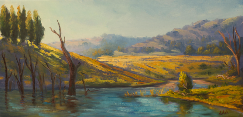 (CreativeWork) Lake St Claire Hunter Valley NSW - Original oil painting on loose canvas by Christopher Vidal. Oil Paint. Shop online at Bluethumb.