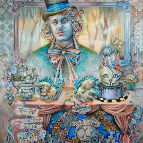 """(CreativeWork) """"Down the Rabbit Hole"""" - The mad hatter meets the matrix Ed. 3 of 20 by Bonny Hut. Print. Shop online at Bluethumb."""