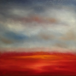 (CreativeWork) Red Sky in the Morning by Kitty Berton. oil-painting. Shop online at Bluethumb.