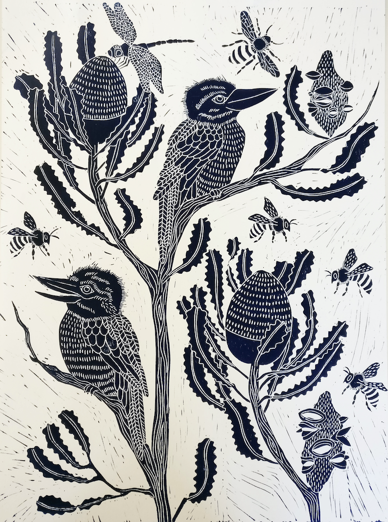 (CreativeWork) Kookaburra and Banksia Lino print Ed. 21 of 100 by Marinka Parnham. print. Shop online at Bluethumb.