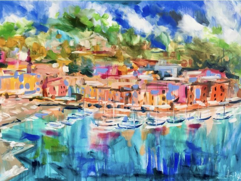 (CreativeWork) Marina di Portofino  by Amanda Brooks. arcylic-painting. Shop online at Bluethumb.