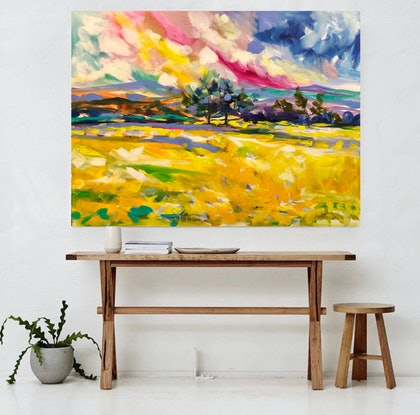 (CreativeWork) Golden canola  by Amanda Brooks. Acrylic Paint. Shop online at Bluethumb.