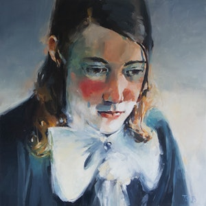 (CreativeWork) Young Man with Bow Tie by Tony Belobrajdic. oil-painting. Shop online at Bluethumb.