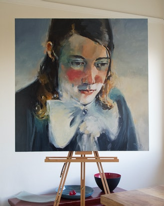 (CreativeWork) Young Man with Bow Tie by Tony Belobrajdic. Oil Paint. Shop online at Bluethumb.