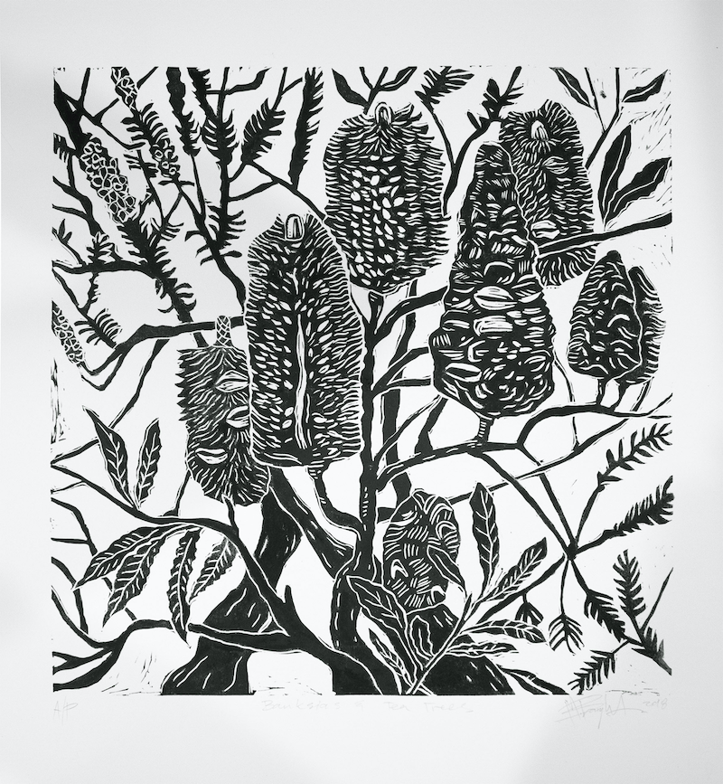 (CreativeWork) Banksia and Tea Tree lino cut print Ed. 20 of 20 by Matthew Broughton. print. Shop online at Bluethumb.
