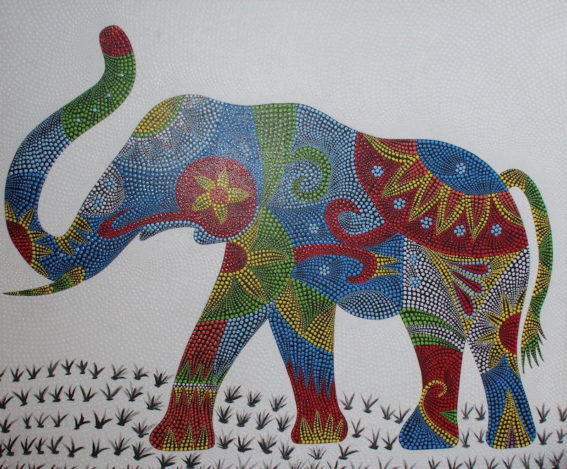 (CreativeWork) GOOD LUCK ELEPHANT by DEREK ERSKINE. oil-painting. Shop online at Bluethumb.