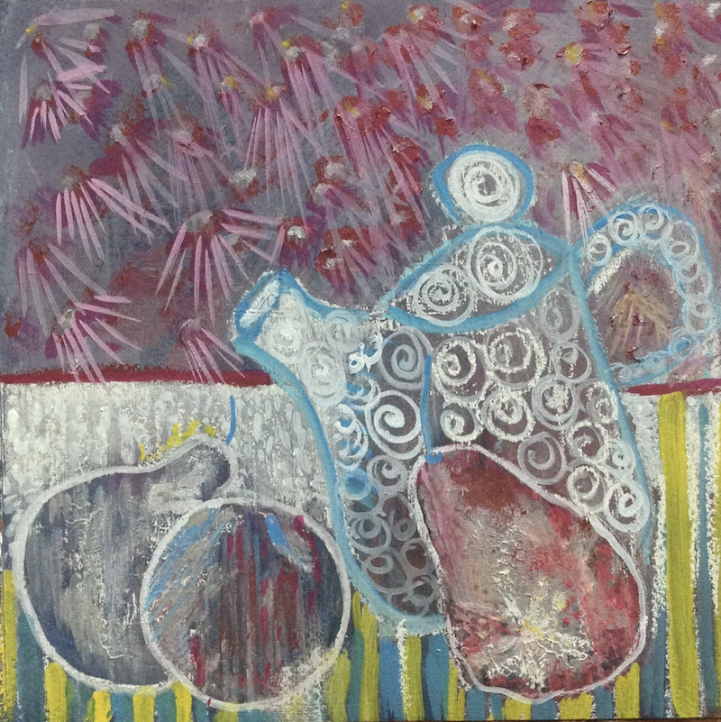 (CreativeWork) Tea for three by Donna Woodhouse. Mixed Media. Shop online at Bluethumb.