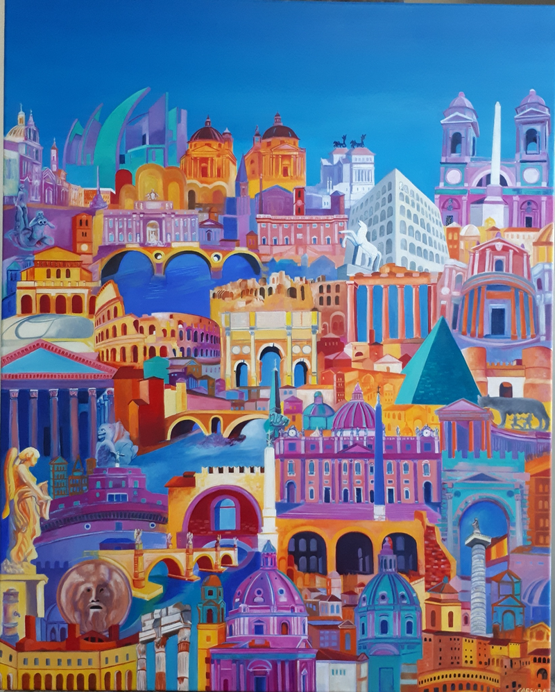 (CreativeWork) Roma  by Grazia Carrara. oil-painting. Shop online at Bluethumb.